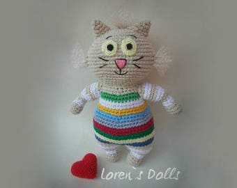 Crochet Striped Cat suitable for children gift for anyone New Baby Gift Baby Shower Baby Gift funny cats Gift  crochet toy MADE TO ORDER