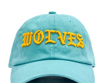 Kanye West Wolves Dad Hat - Teal in Twilled Cotton