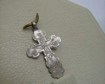 19th CENTURY SOLID Sterling Silver OLD Cross Pendant Jesus Christ Crucifix Saint Iosaph Joasaph of Belgorod Detailed Russian 84 Stamp Russia