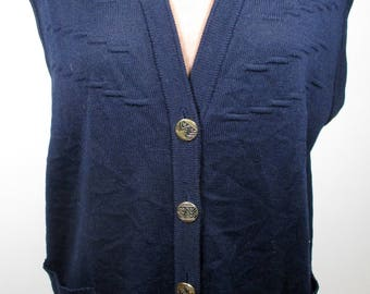 """1970s Vintage Womens Navy Blue Tank Top LARGE Size 16 (Bust 40-42"""") Retro Sleeveless Cardigan - made in Germany -Quality Vintage Knitwear-"""