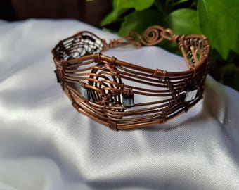 wire wrapped bracelet, copper wire bracelet , handmade bracelet , handmade jewelry