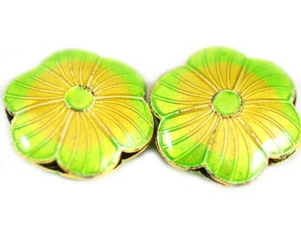 Cloisonne Flower Beads Lime Green Orange Yellow Flowers - 18mm - Package of 2