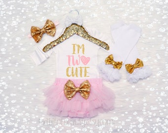 I'm TWO Cute Baby Girl Birthday Outfit -  Second Birthday Outfit - 2nd Birthday Outfit - Birthday Party Outfit - Toddler Birthday Shirt