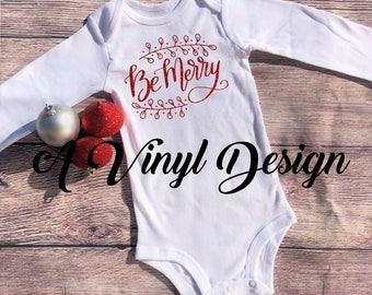 Be Merry Christmas Baby Bodysuit Glitter
