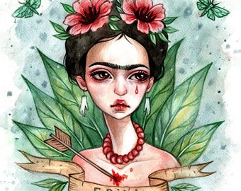 Frida Kahlo Original watercolor illustration