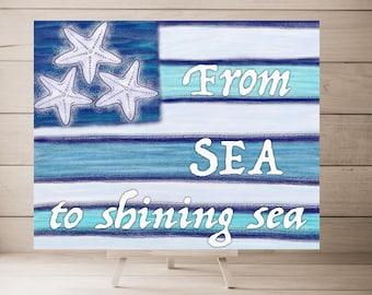 Nautical Sea Theme USA Flag, American Flag Canvas, USA Flag Canvas, Patriotic Canvas Art, Patriotic Art Print, Patriotic Gift Idea