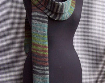 chunky warm long knitted striped gradient shades of green, brown and gray street fashion scarf cool gift for cool season
