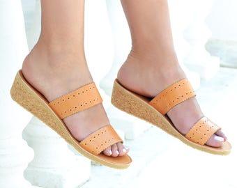 Wedges sandals, Sandals, Leather sandals women, Tan leather sandals, Brown sandals, Leather slides, Greek sandals, MIRANDA Wedge