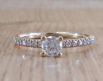 18K Gold, 1.06 TCW Diamond Ring, Engagement Ring, Solitaire Diamond Ring, GIA Certified Diamond, Pave Setting, Wedding Ring, Promise Ring