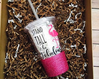 Stand Tall and Be Fabulous Personalized Glitter Tumbler - Custom Glitter Tumbler - Flamingo Tumbler - Flamingos