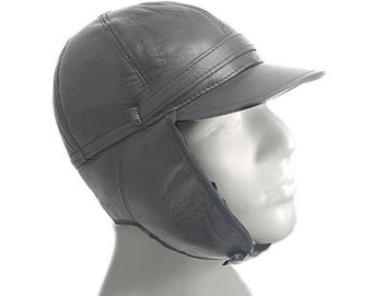Aviator Hat, Pilot Leather Cap, Black Leather Hat, Leather Pelt, Gift for Man, Winter Hat, Travel Gift, Ear Flap Hat