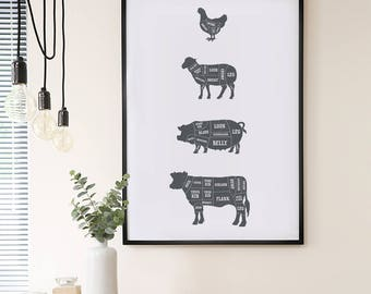 Butcher chart poster – Large butcher poster – Large butcher print – Meat cuts print – Kitchen art – Kitchen poster – Food poster – BUT001