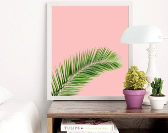 Pink Tropical Leaf, Printable Art, Palm Leaves Print, Pink Palm Leaf, Tropical Leaf, Leaves Large Art, Leaf Large Wall Art, Pink Wall Art