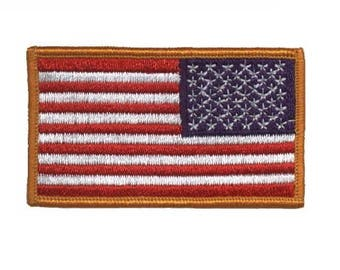 Reverse American Flag Patch for Right Shoulder - United States of America USA (Iron on)