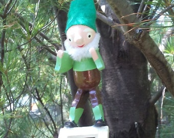Vintage Elf Christmas ornament wooden Santa's helper on a ladder retro pixie hanging decoration chenille beard