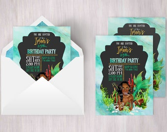 Mermaid Invitation   Mermaid Invite, Ocean Invitation, African Mermaid, Mermaid Invitations, Black Mermaid, Sexy Mermaid, Ariel Birthday