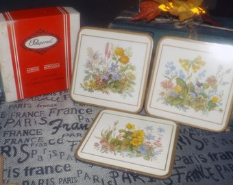 Vintage (c.1970s) boxed set of 6 Pimpernel Meadow Flowers coasters. Various florals, acrylic front, cork back. Made in England.