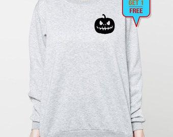 Jack O Lantern shirt sweatshirt halloween sweater jumper pocket tee long sleeve S M L XL heather grey