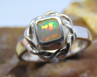 Opal ring halo sterling silver Natural opal ring haloed opal ring opal engagement promise simple unique Rose gold white gold green gold