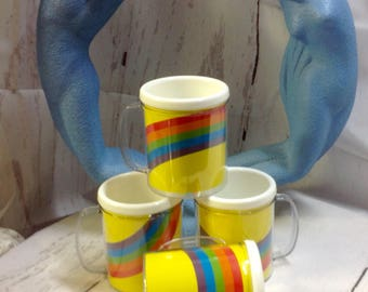 RETRO Rainbow ,use your own picture,New Old stock Plastic Mugs
