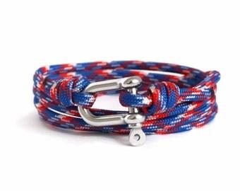 Shackle Bracelet, Red, Blue, White & Silver, Sailing Rope Bracelet, Mens Bracelet, Nautical Jewellery.