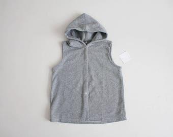80s sleeveless sweatshirt | grey heather hoodie | hooded sweatshirt