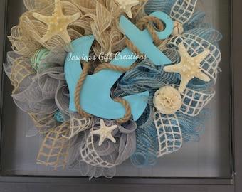 Made to Order Anchor Mesh Wreath/Nautical/Front Door Wreath/Coastal Wreath/Everyday/Beach Wreath/Starfish/Burlap Decor/Summer/Welcome Wreath