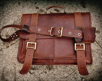 """Mens Leather Messenger Bag, Leather Briefcase. Men's Leather Briefcase, Leather Laptop Bag. 16"""" Personalized Men's Leather Bag."""