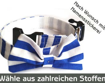 Dog collar with a bow, collar with tie, dog collar, blue white striped wedding Strip, maritim, dog collar with bow tie