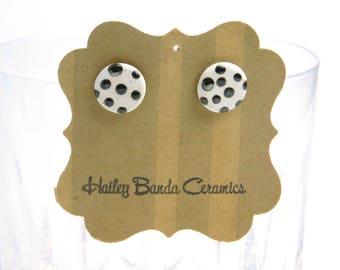 Polka dot stud earrings, metallic and matte white glaze, small round, ceramic, hypoallergenic