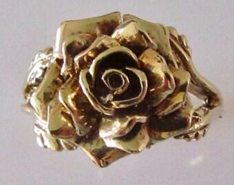 Vintage 9ct Gold Rose Flower Ring