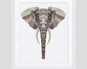 Cross stitch pattern, bull elephant modern counted cross stitch, bull elephant cross stitch pdf pattern, elephant pattern