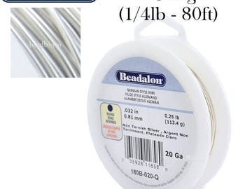 20 Gauge SILVER German Style Round Wire (80ft) Wire by Beadalon