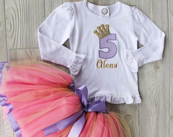 Birthday Princess Outfit - Tulle Ribbon Birthday Outfit, Tulle Skirt, Princess Shirt, Birthday Party, 5th Birthday Party, Birthday Gift