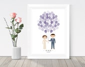 Custom portrait wedding guest book printable, wedding balloons, personalised wedding couple portrait, alternative guest book poster