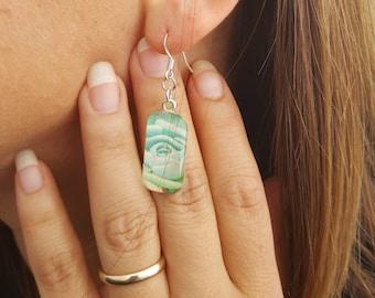 Green Succulent Glass Rectangle Earrings Dangle Earrings Nature Jewelry Flower earrings photo jewelry Flower Jewelry Nature Jewelry