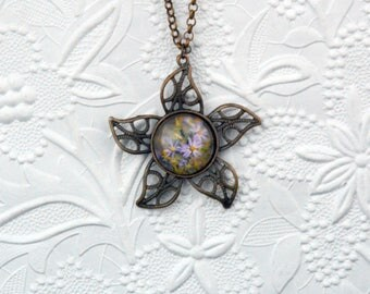 2-inch Flower Photo Pendant with Image of Pink Daisies in Copper Finish
