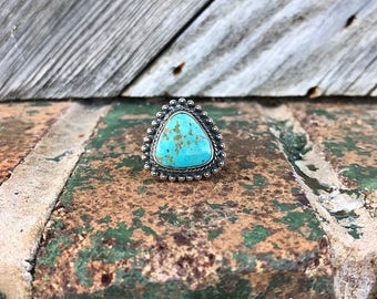 Vintage Bell Trading Post Triangle Turquoise Ring | Native American Southwestern Jewelry | Size 8