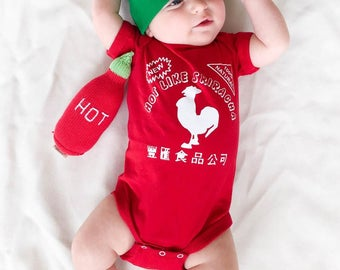 Sriracha Baby Outfit, Spicy Baby Outfit, Funny Baby Shower Gift, Newborn Outfit