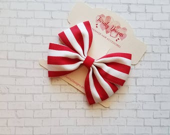 Girls Red & White Stripe Hair Bow, Red and White Bow, Girls Holiday Bow, Toddler Hair Bow, Red Hair Bow, Girls Hair Clip, Girls Barrette
