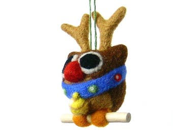 OWL disguised as Rudolph the Red Nosed Reindeer. Christmas tree decoration. By LaPoissonnerie