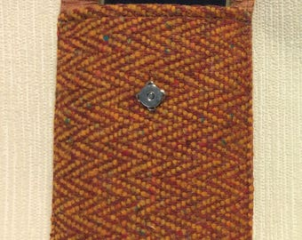 Welsh tweed phone case, cell case in tan, orange herringbone