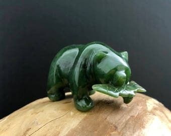 Canadian Jade Bear With Fish - Multiple Sizes  - Jade Carving - Jade Figurine - Natural Jade - Authentic Jade