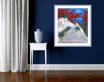 Giclée Canvas Print, Greece Motif with Sea, Seashore Modern Painting, Wall Art, Red Blue Landscape Painting, Print Original Art, Wall Decor