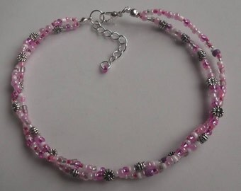 Flower anklet, ankle bracelet, stretch anklet, glass beaded anklet, seed bead anklet, boho anklet, beach anklet, pink anklet