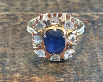 Antique Sapphire and Rose Cut Diamond Ring