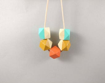 Geometric Tropical Necklace - Mustard, Coral, Mint | Statement Necklace | Gift for her | Geometric Jewellery | Tropical | Geometric | Geo