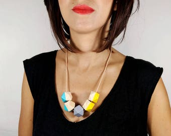 Statement Necklace - Turquoise, Light Grey & Yellow | Geometric Necklace | Gift for her | Geometric Jewellery | Beaded necklace | Minimalist