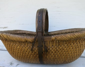 Antique Chinese Market Basket Asian Woven Willow Carrying Basket