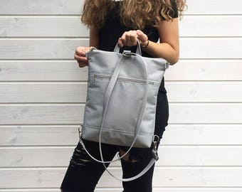 Silver Gray Waterproof Backpack, Vegan Solid Rucksack